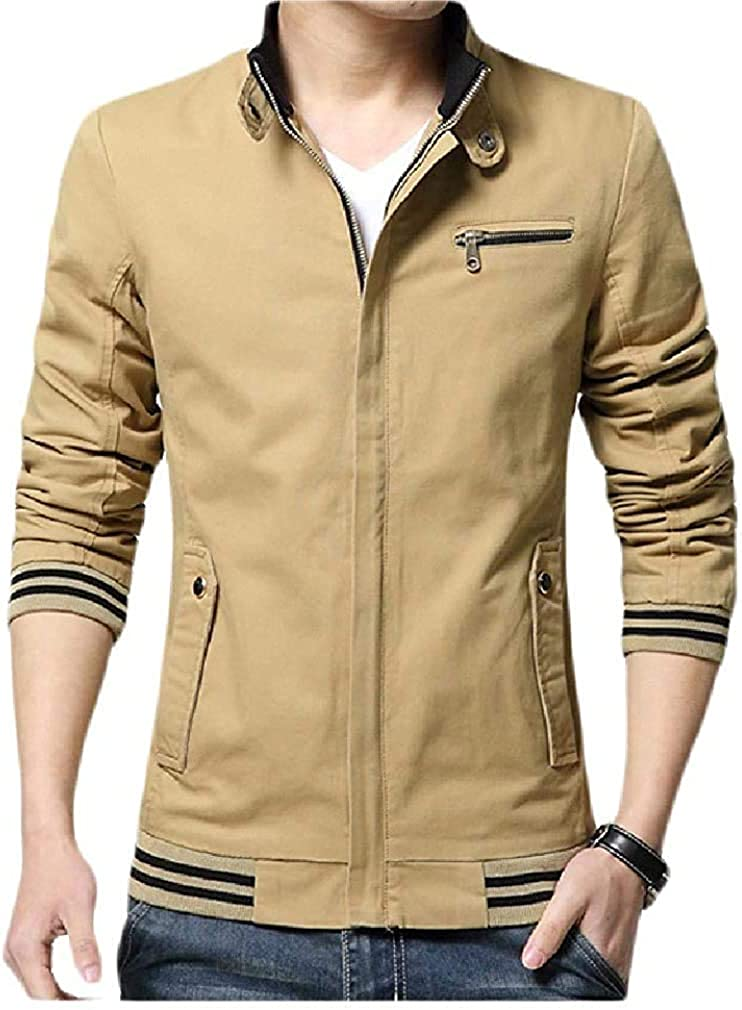 Men Cheap mail order specialty store Classic-Fit Max 45% OFF Stand Collar Outwear Jacket Lined Fleece Casual