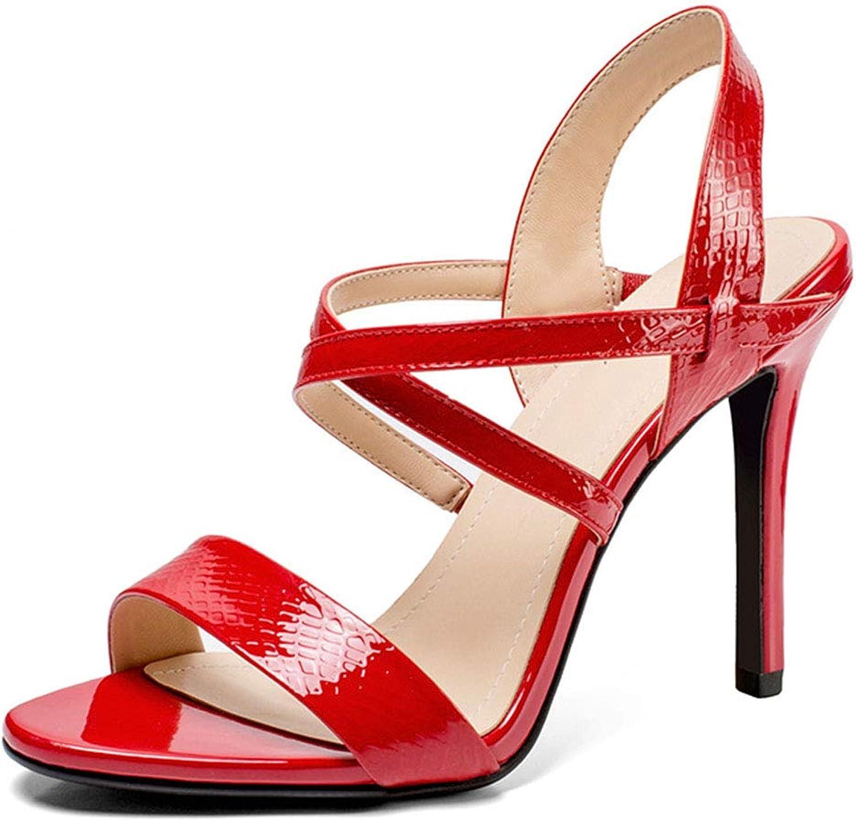 Damen High Heel Sandalen Leder Runde Open Toe Pfennigabsatz Schuhe Einfarbige Cross Word Sling Sandale Sommerarbeit Einkaufen Dating Party