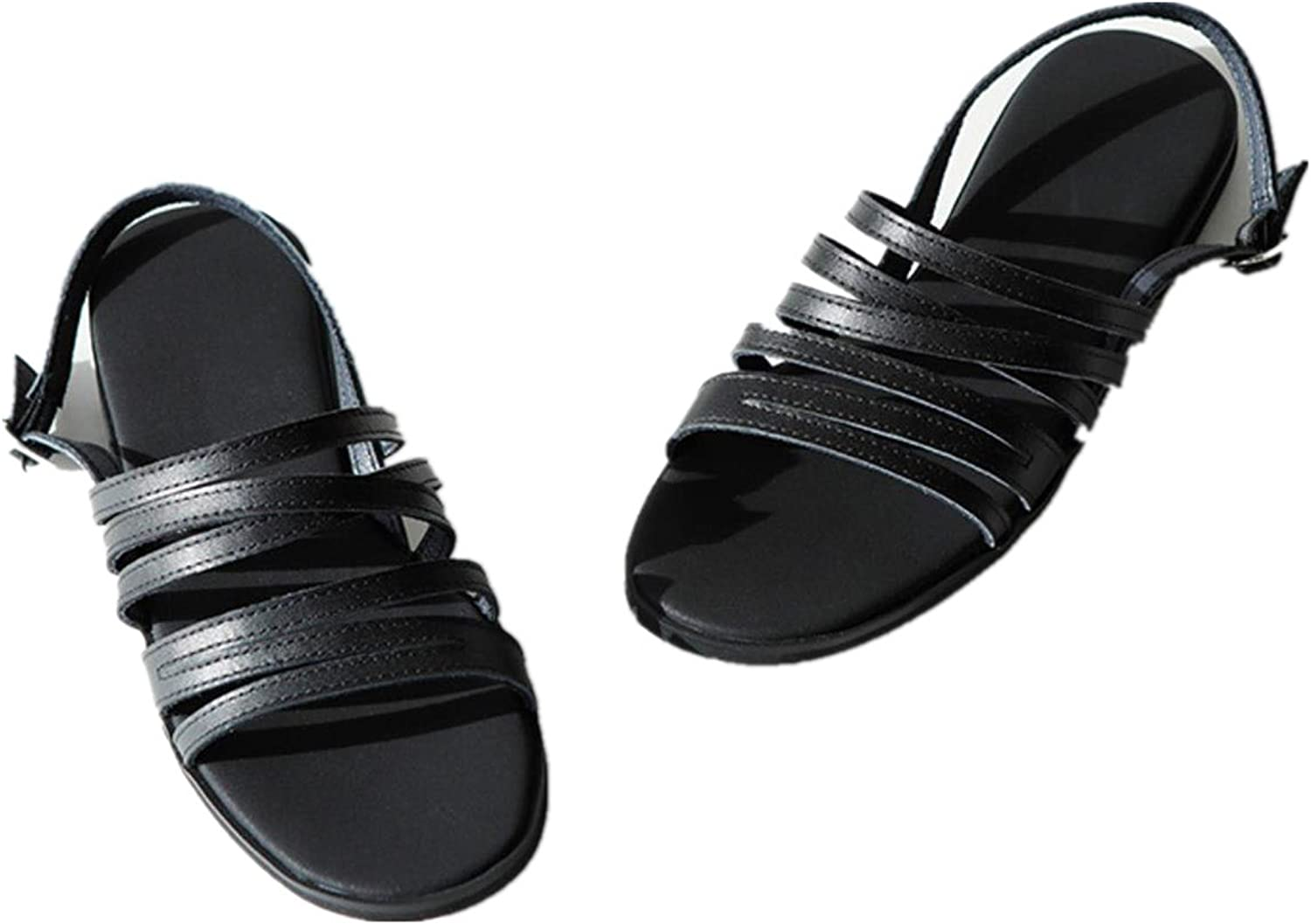 Ugly Summer black flat sandals ladies shoes leather open toe comfortable simple Rome shoes flat shoes