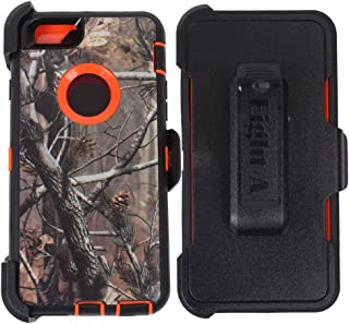 Apple iPhone 6S Case,Heavy Duty Defender Impact Rugged with Built-in Screen Protector Case Cover for iPhone 6S (Orange-Tree-Camo)
