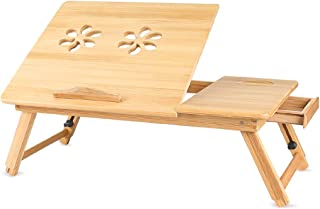 Bamboo Laptop Desk Adjustable, Dicoool Portable Breakfast Serving Bed Tray with Tilting Top Drawer