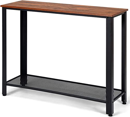 new arrival Giantex Console Sofa Table Wood W/Adjustable Feet and Storage Shelf, Scratch-Proof and Mental Frame Multipurpose discount Accent Furniture for online Entryway, Living Room, Bedroom Sofa Side Table (Nut-Brown) outlet online sale