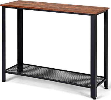 Giantex Console Sofa Table Wood W/Adjustable Feet and Storage Shelf, Scratch-Proof and Mental Frame Multipurpose Accent Furni