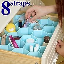INOVERA (LABEL) Honeycomb Underwear Innerwear Socks Organizer Drawer Clapboard Closet Divider 8 Strap, (18 Compartment, Blue)