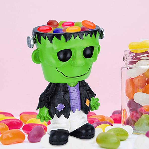 Ichibann Halloween Decoration Frankenstein Candy Bowl Holder 12in H Halloween Frankenstein Treat Bowl Spooky Halloween Decorative Figurine Desk Decor Frankenstein Statue