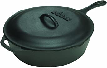 Lodge L8CFKPLT 3 Quart Cast Iron Deep Skillet with Lid Deep Frying and and Bread Baking Black
