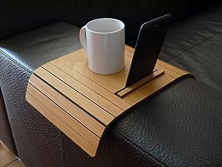 Mini tavolino laterale da bracciolo divano in legno con supporto iphone e kindle paperwhite personalizzabile noce chiaro P...