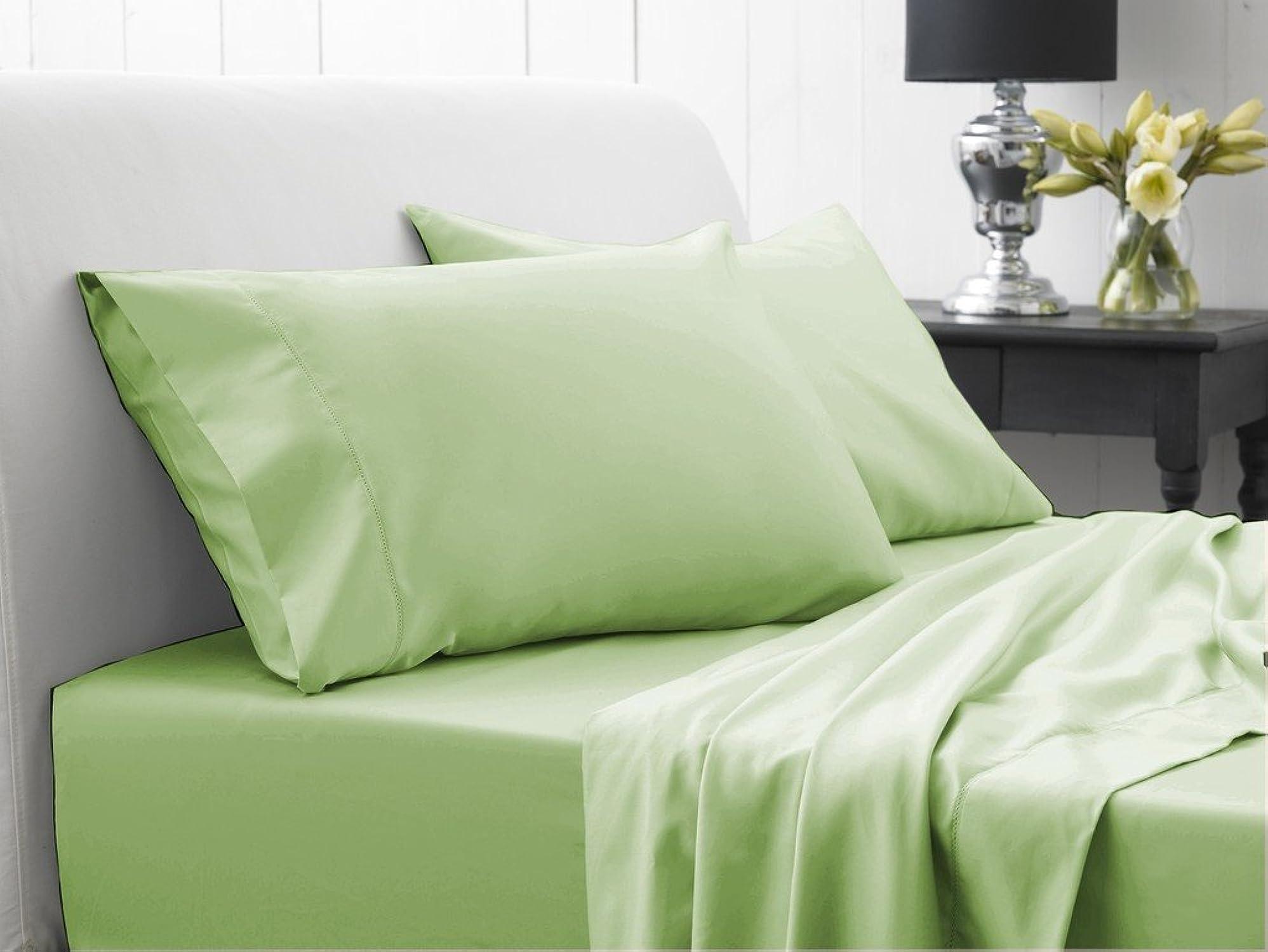 Dreamz Bedding Super agréable 450-thread-count Coton égypcravaten de lit 45,7cm Poche Profonde suppléHommestaire (Empereur, Vert Sauge Solide, 450tc Parure de lit 100% Coton