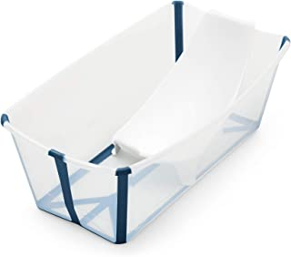 Stokke Flexi Bath Bundle, Transparent Blue - Foldable Baby Bathtub + Newborn Support - Durable & Easy to Store - Convenien...
