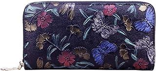 Embossed Genuine Leather Wallet Novel Billfold Purse (Color : Purple)