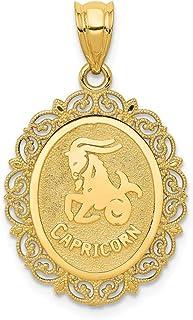 AA7410 signe du zodiaque M/édaille pendentif 16 mm 18k horoscope or Capricorne