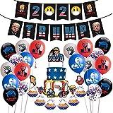 Cumpleaños bandera DIY carta impresión tirar bandera fiesta decoración Set con tema pasteles Topper Tarta Tarjetas