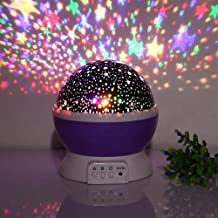SHOPPOWORLD Star Moon Night Light Rotating LED Star Moon Night Projector lamp Light Dream Color Changing Bed Light Lamp (Multi Colour)