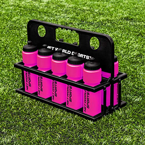 Net World Sports 10 Botellas de Agua 750ml y Porta Botellas (Rosa)