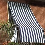 Tenda da sole 150x290cm in tessuto a strisce con anelli ombra per balcone terrazzo casa (BLU)