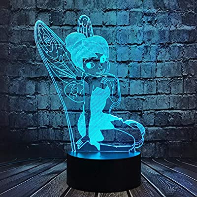 Tinker Bell Cartoon LED Night Light 3D Movie Figure Pretty Fairy Bulb 7 Color USB Change Panel Decor Room Mood Table Lamp for Girl Holiday Birthday Party Friend Gift Kids Toy(Fly Tinker Bell)