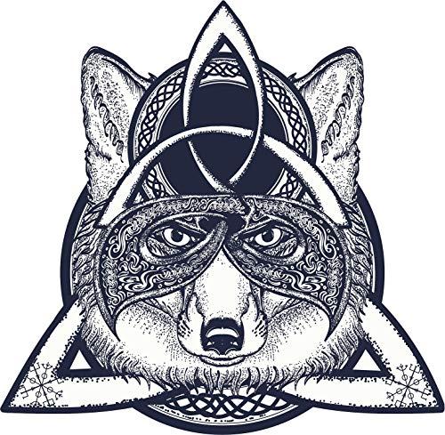 EW Designs Pretty Celtic Knot Spiritual Fox Cartoon Icon #1 Vinyl Decal Bumper Sticker (4' Tall)