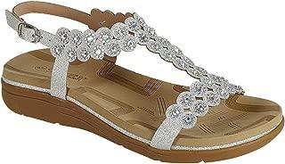 Women's T-Strap Beaded Rhinestone Flat Dress Sandals Beach Summer Shoes