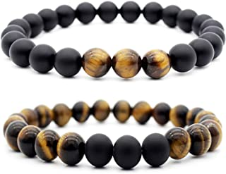 2PCs Nature Stone Bead Bracelets for Mens Women 8mm Tiger Eye Stone Beads Bracelet Elastic Yoga Bracelets