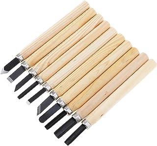 OriGlam Juego de 10 cinceles profesionales para tallar madera, acero al carbono, herramientas para tallar madera, cinceles para carpintería, kits de cinceles de madera, herramientas de tallado