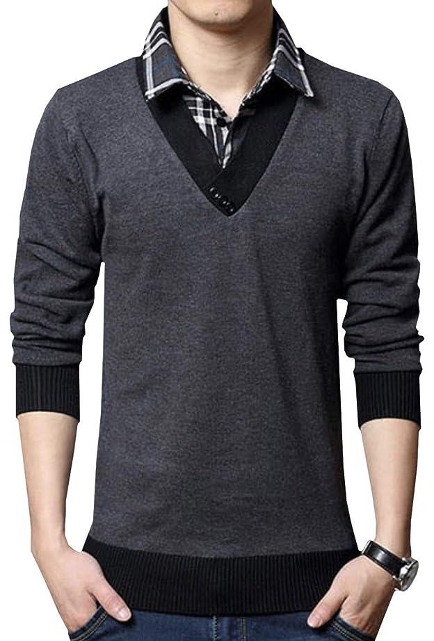 スムーズにピル鳴り響く[ボルソ] 重ね着風 長袖 Vネック カットソー メンズ (ブラック、グレー、ライトグレー) M?XXL