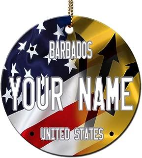 Bleu Reign BRGiftShop Personalized Custom Name Mixed USA and Barbados Flag Round Ceramic Tree Ornament
