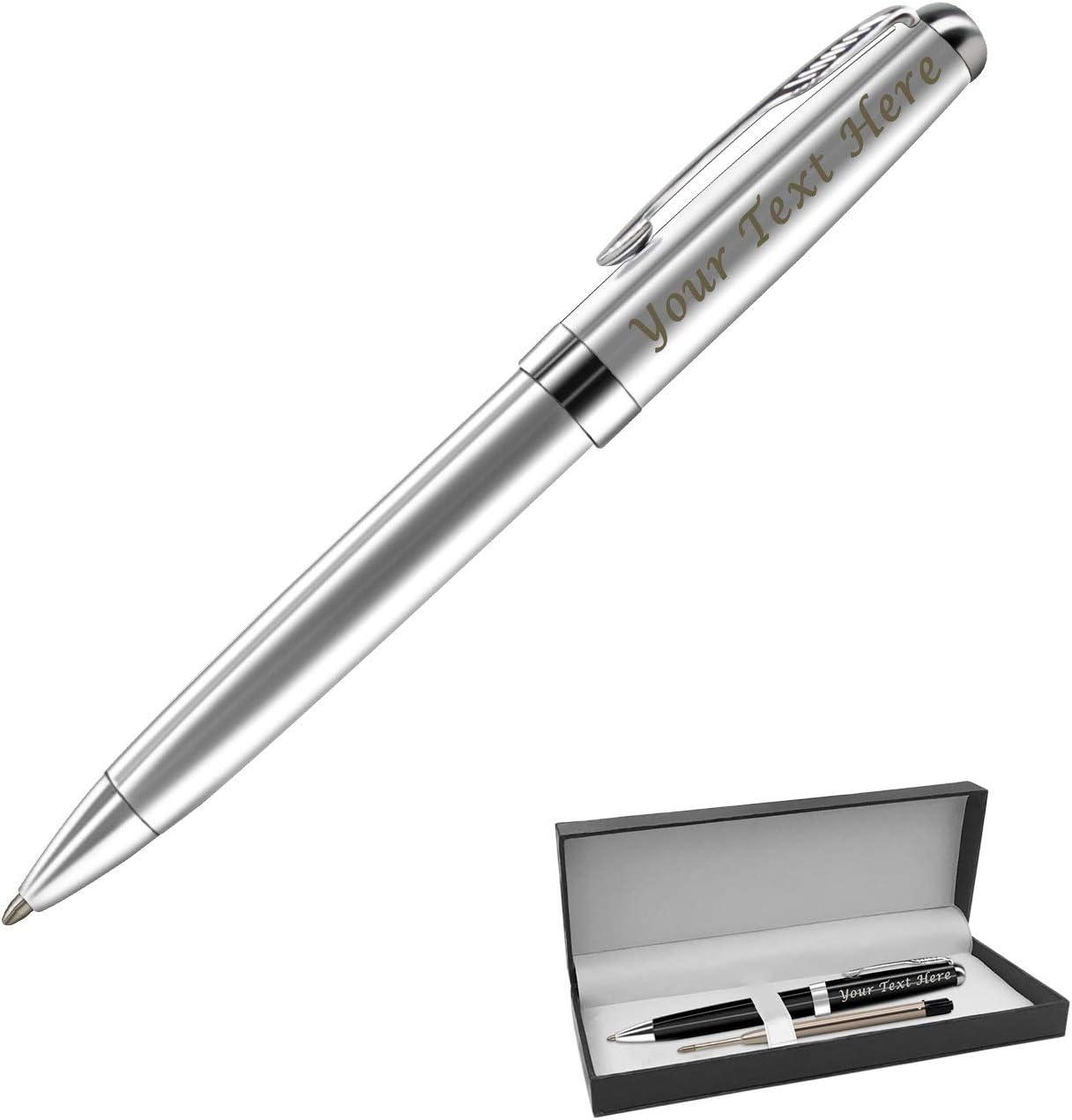 Bolígrafo retráctil con grabado personalizado para hombre, tinta negra, color plateado: Amazon.es: Oficina y papelería
