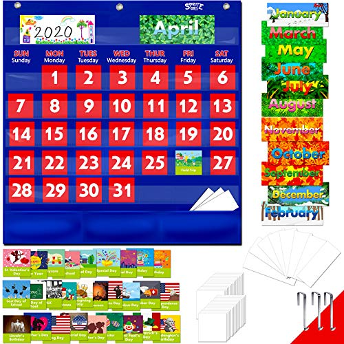 Blue Calendar Pocket Chart with 104 Cards,(72 Illustrated Activity Cards, 32 Dry Erasable Flash Cards and 3 Hooks 20