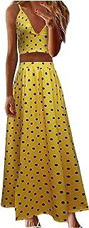N-B Conjunto de Vestidos Verano Mujer de 2 Piezas Elegantes Estampado Top Chaleco V-Cuello y Falda Larga Moderno Originale...