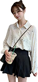 DeBangNiレディース シャツ 可愛い 春服 ワイシャツ ブラウス 薄手 ゆったり ネルシャツ 韓国風 ストリート系 通勤 通学 原宿系