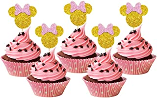 24 Pcs Gold And Pink Glitter Minnie Inspired Cupcake Toppers Girls Birthday Party Decorations