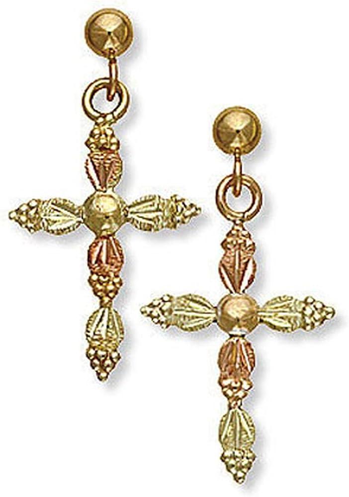 Landstroms 10k Black Hills Gold Cross Earrings, for Pierced Ears - G LER525