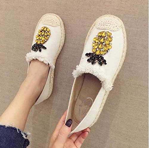 YOPAIYA Alpargatas Las mujeres blancoas Alpargatas Flats Crystal Cáñamo Pescador zapatos Damas Moda Rhinestone Mocasines Slip-On Solo zapatos