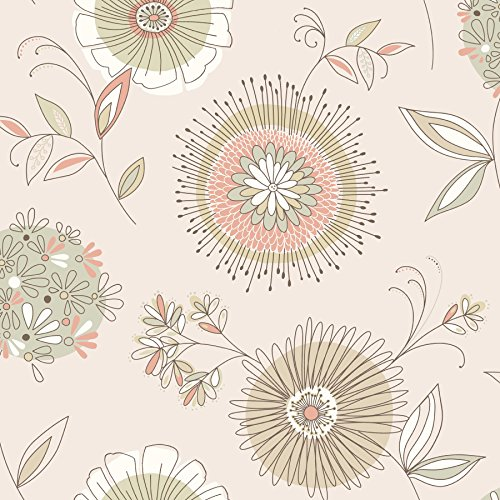 Beacon House 2535-20683 Maisie Floral Burst Wallpaper, Beige