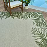 Gertmenian 21559 Outdoor Rug Freedom Collection Bordered Theme Smart Care Deck Patio Carpet 5x7 Standard, Palm Tree Border Green