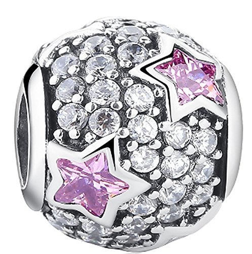 SaySure - 925 Sterling Silver Dazzling Clear CZ Charm Beads