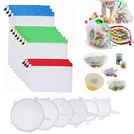 Silicone Stretch Lids and Reusable Mesh Produce Bags for Home and Kitchen, Durable and Expandable BPA Free Containers Covers, Grocery Shopping and Storage (Total 18 pack)