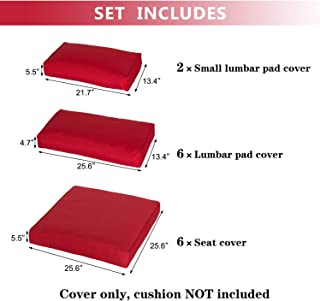 Kinbor Patio Wicker Furniture Sectional Sofa Seat Rattan Patio Seating Cushion Cover Set (Red)