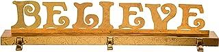 Believe Gold Tone 28 x 6 Iron Metal Christmas Triple Stocking Hanger Holder