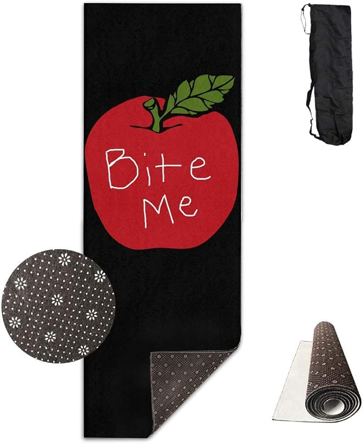 Yoga Mat Non Slip Apple Bite Me Printed 24 X 71 Inches Premium for Fitness Exercise Pilates with Carrying Strap