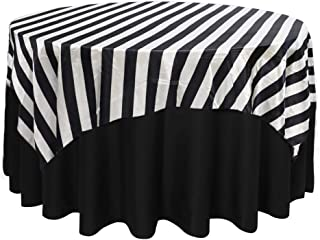 Your Chair Covers - 72 inch Square Satin Table Overlay Black/White Striped, Square Satin Table Cloths