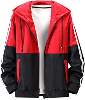 LUCAMORE Men's Casual Color Block Windbreaker Jacket Hoodie Lightweight Zip Up Outwear Coats S-5XL