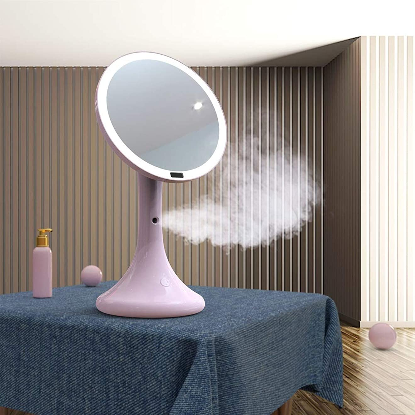 舞い上がるビザ成人期流行の スプレー水和LED化粧鏡インテリジェント人体誘導ランプミラーデスクトップ美容ミラー水和ABS素材ピンクセクションブルーセクション (色 : Pink)