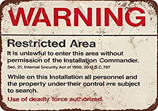 Warning Restricted Military Area 51 Vintage Look Reproduction Metal Tin Sign 12X18 Inches