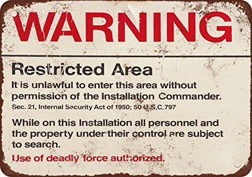 VEHFA Warning Restricted Military Area 51 Vintage Look Reproduction Metal Tin Sign 12X18 Inches