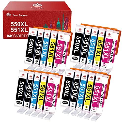 Toner Kingdom 550XL 551XL Druckerpatronen Kompatibel für Canon PGI-550 CLI-551 XL für Canon Pixma IP8750 IP7250 IX6850 MG5450 MG5550 MG5650 MG6450 MG6650 MX725 MX925