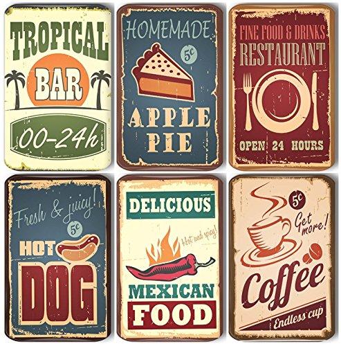 Merchandise for Fans Coffee Bar Hamburger Retro Vintage - 6 rechteckige Kühlschrankmagnete 7X 4,5 cm - 01 für Memoboard Pinnwand Magnettafel Whiteboard