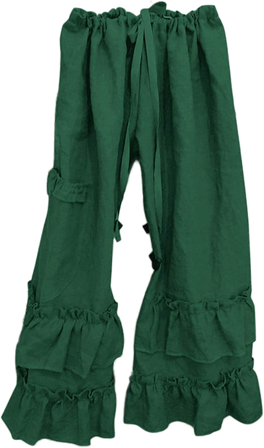 Andongnywell Women's Linen Wide Leg Pants Elastic Waist Casual with Pockets Solid Color Ruffle Hem Trousers