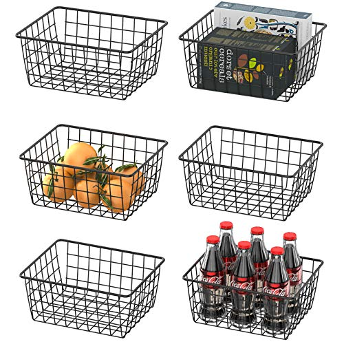 Wire Basket, Warmfill 6 Pack Wire Baskets for Storage Durable Metal Storage Baskets Pantry Organizer Bins Baskets for Kitchen Cabinets, Pantry, Bathroom, Countertop, Closets, Black