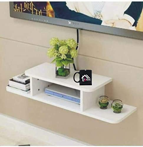 Exotic Home Decor Entertainment Unit Set Top Box Stand Wall Mounted Shelf Racks for Home Living Room Floating Shelves for Bedroom White